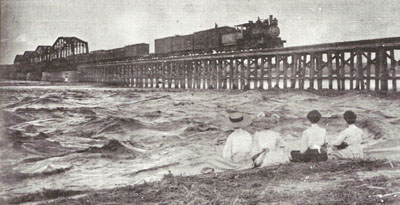 Railroad River Bridge Flood 1909 Canadian Texas